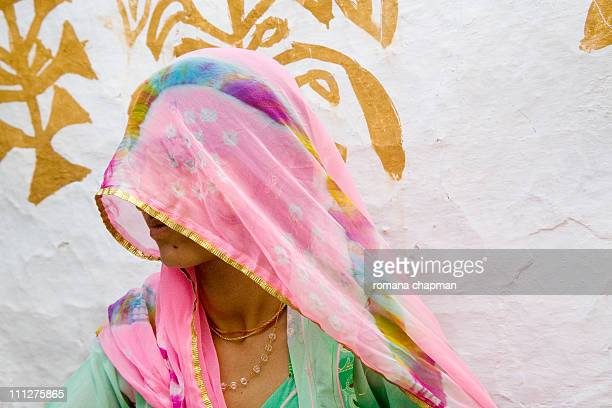 Tribal woman with pink head scarf