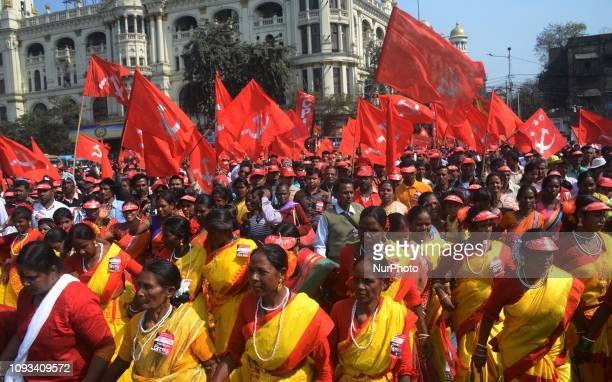 Tribals perform during mega rally in Kolkata India on Sunday 3rd February 2019 Thousands of activists gathered at Brigade Parade Ground in Kolkata...