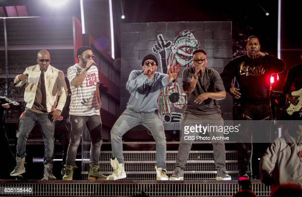 Tribe Called Quest and Anderson Paak during rehearsals for THE 59TH ANNUAL GRAMMY AWARDS scheduled to broadcast live from the STAPLES Center in Los...