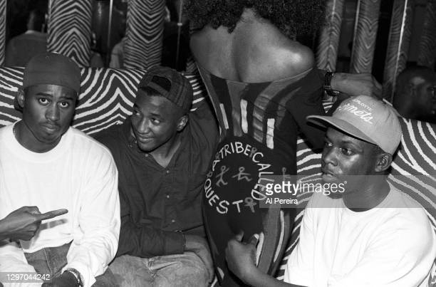 """Tribe Called Quest attend an album-release party for A Tribe Called Quest's """"The Low End Theory"""" on September 16, 1991 in New York City. (l to r: Ali..."""
