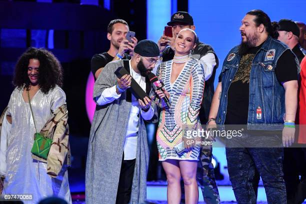 Tribe Called Red and Liz Trinnear at the 2017 iHeartRADIO MuchMusic Video Awards at MuchMusic HQ on June 18 2017 in Toronto Canada on June 18 2017 in...