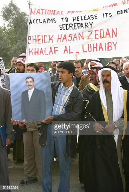 Tribe members protest in Baquba in front of the Governor's offices 60 kms northeast of Baghdad 05 January 2005 following the arrest of tribal leader...