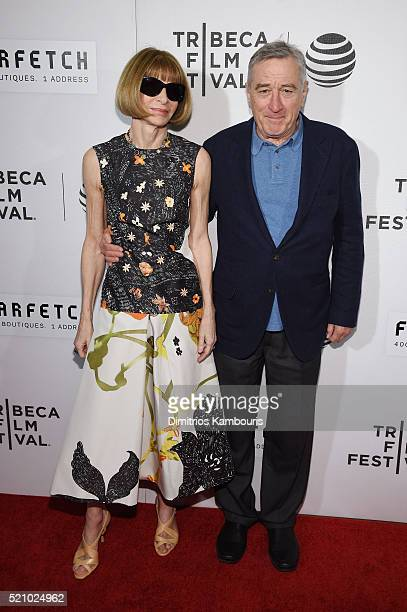 Tribeca Film Festival cofounde Robert De Niro poses with Anna Wintour Editorinchief of American Vogue attend the 'First Monday In May' world premiere...