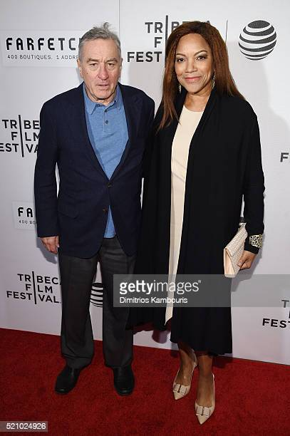 Tribeca Film Festival cofounde Robert De Niro poses with Grace Hightower at the First Monday In May world premiere during the 2016 Tribeca Film...