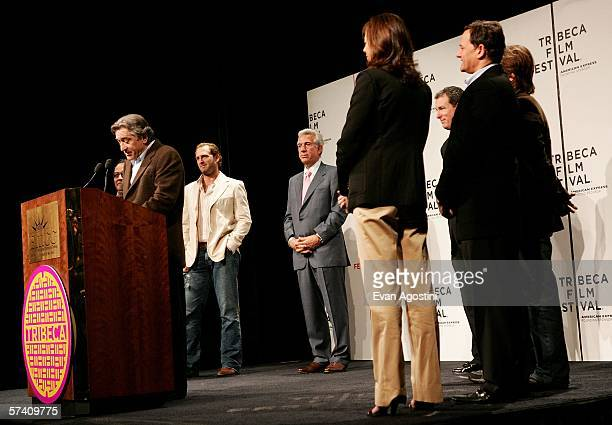 Tribeca Film Festival cofounder actor Robert De Niro speaks to the press as actor Josh Lucas Empire State Development Corporation chairman Charles...