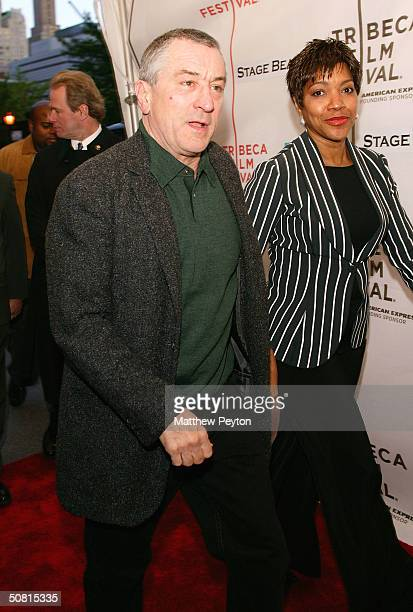Tribeca Film Festival cofounder and actor Robert De Niro and his wife Grace Hightower walk the red carpet at the Gala Premiere of 'Stage Beauty'...