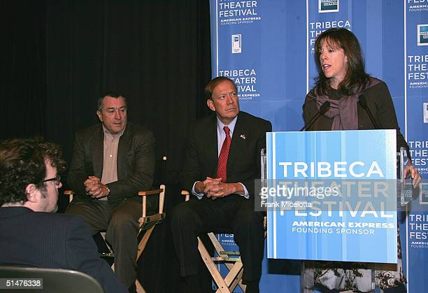 Tribeca Film Festival CoFounder Jane Rosenthal speaks as actor Robert De Niro and New York Governor George Pataki look on at the press conference to...