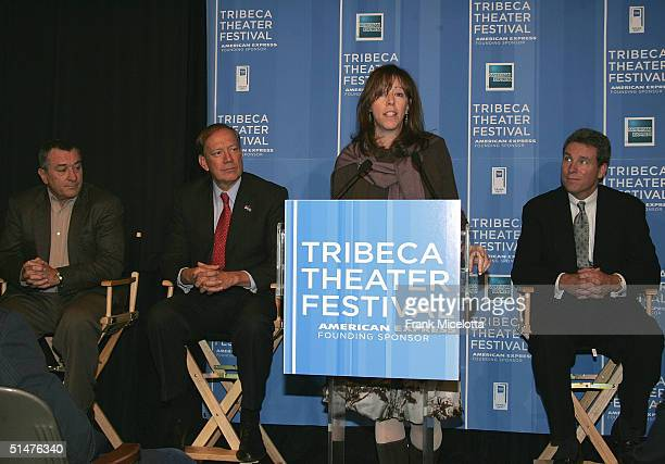 Tribeca Film Festival CoFounder Jane Rosenthal speaks as actor Robert De Niro New York Governor George Pataki and Chief Marketing Officer of American...