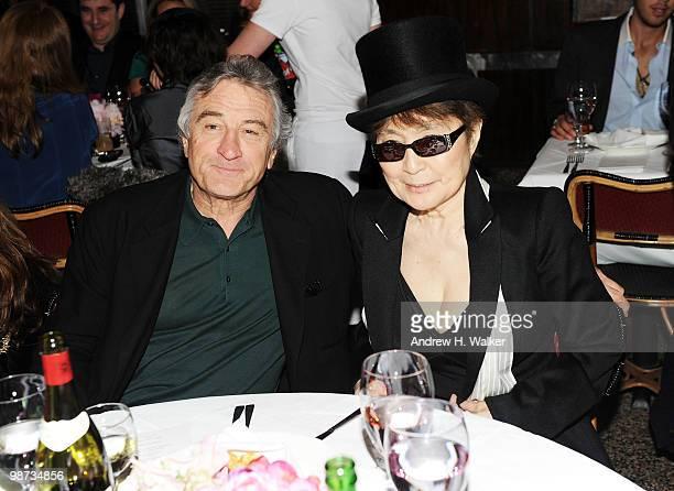 Tribeca Film Festival cofounder Robert De Niro and artist Yoko Ono attend the CHANEL Tribeca Film Festival Dinner in support of the Tribeca Film...
