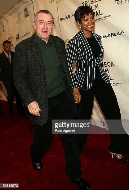 Tribeca Film Festival cofounder Robert De Niro and Grace Hightower arrive at the Gala Premiere of 'Stage Beauty' during the 2004 Tribeca Film...