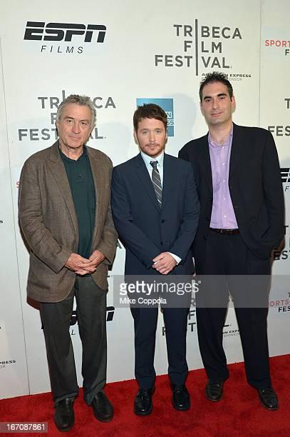 Tribeca Film Festival cofounder Robert De Niro filmmaker Kevin Connolly and producer Connor Schell attend the Tribeca/ESPN Sports Film Festival Gala...