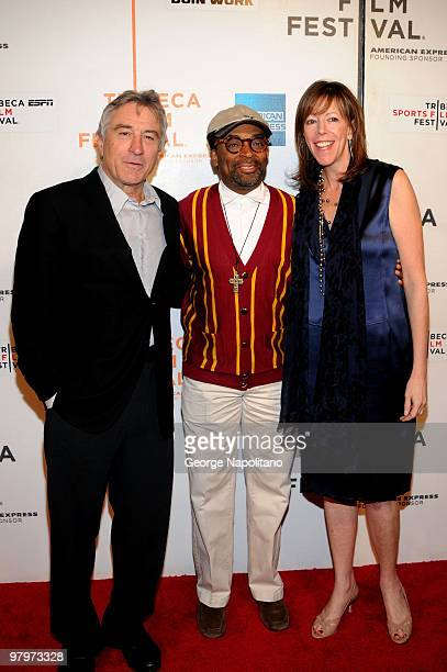 Tribeca Film Festival cofounder Robert DeNiro director Spike Lee and Tribeca Film Festival cofounder Jane Rosenthal attend a screening of Kobe Doin'...