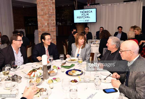 Tribeca Film Festival CoFounders Jane Rosenthal Robert De Niro and guests attend a press luncheon during the 2018 Tribeca Film Festival at Thalassa...