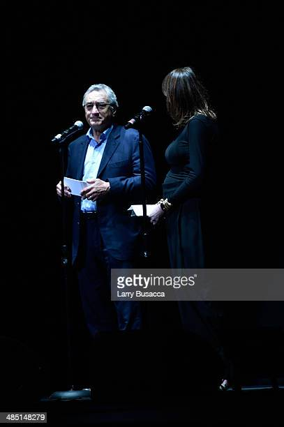 Tribeca Film Festival Cofounders Robert De Niro and Jane Rosenthal speak onstage at the Time Is Illmatic Opening Night Premiere during the 2014...