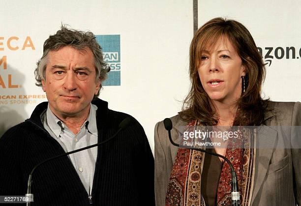 Tribeca Film Festival founders Robert De Niro and Jane Rosenthal speak during the Tribeca Film Festival partnership press conference at the Tribeca...