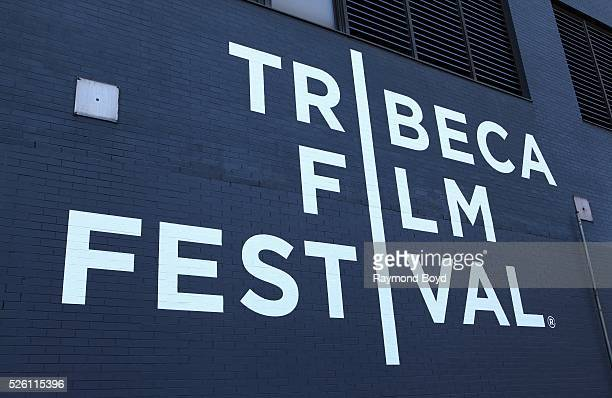 Tribeca Film Festival signage in Tribeca in New York New York on April 15 2016
