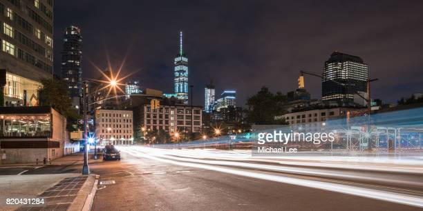 tribeca night street scene - new york - lower manhattan stock photos and pictures