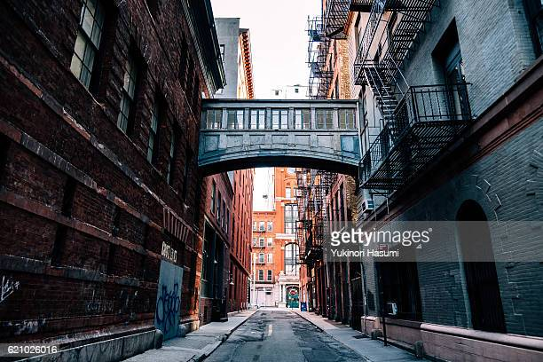tribeca vibes, new york - alley stock photos and pictures