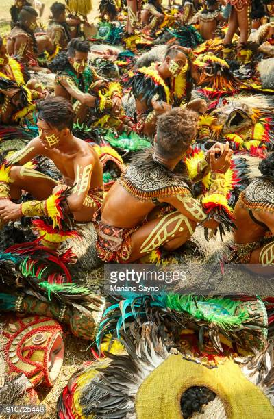tribesman at festival - dinagyang festival stock photos and pictures