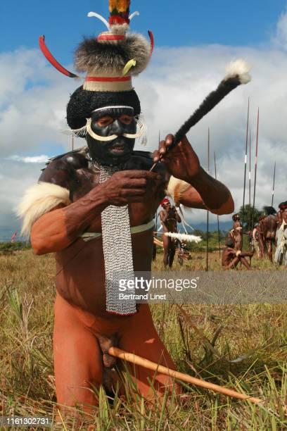 tribesman wearing koteka in wamena - west papua - penile sheath stock photos and pictures