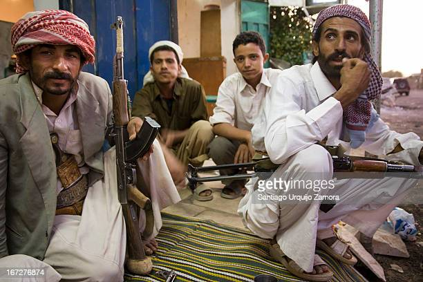 Tribesmen armed with their Kalashnikov in the evening in Marib. In the tribal areas, particularly the Marib, al-Jawf, and Shabwah governorates,...