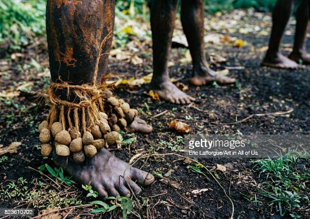 Tribesmen feet with dried seeds to make noise during a ceremony in the jungle Malampa province Malekula island Vanuatu on September 3 2007 in...