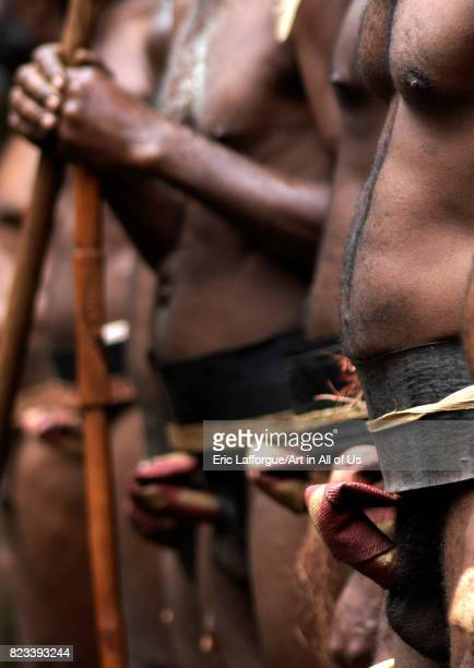 Tribesmen wearing traditional penis sheaths called nambas Ambrym island Fanla Vanuatu on August 29 2007 in Fanla Vanuatu