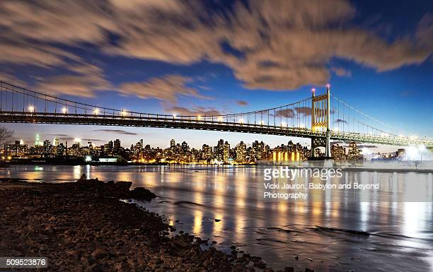 Triboro Bridge from Astoria Queens to Manhattan at Night