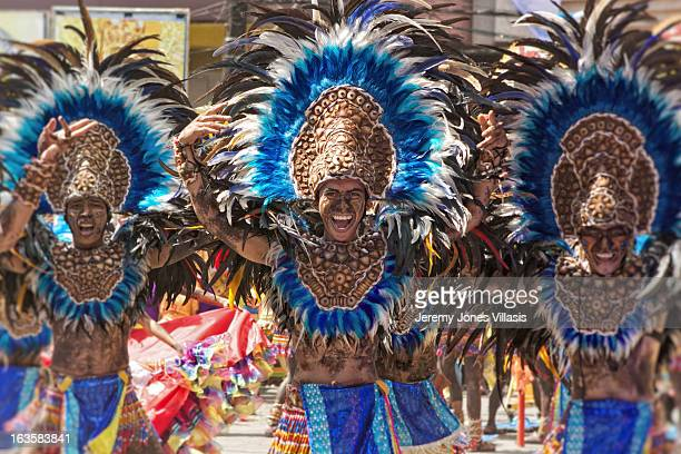 Tribu Paghidaet, from a local school is one of the competing groups perform during the Ati Streetdance Competition of the Dinagyang Festival in...