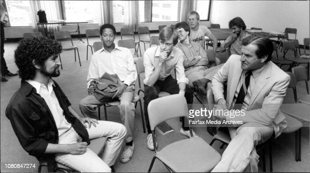 Tribunal Hearing on 2 GB at North Sydney on Rev Fred NileMembers of the Gays with group with Rev Fred Nile during a break in proceedings December 14...