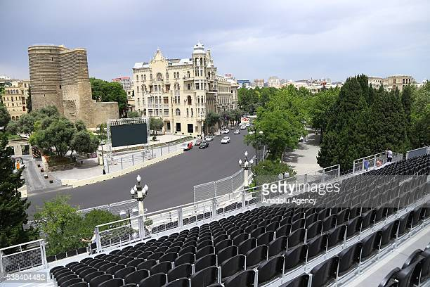 Tribune established for audiences at 'pit stop' area is seen ahead of the Azerbaijan Formula One Grand Prix at Azadliq Square in Baku Azerbaijan on...