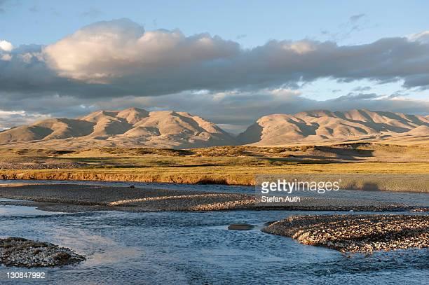 Tributary to Lake Manasarovar, Mount Kailash, broad landscape, Trans-Himalaya mountain range, Himalaya Range, western Tibet, Ngari Prefecture, Tibet Autonomous Region, People's Republic of China, Asia