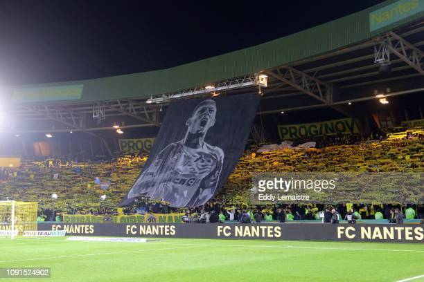 Tribute and Banner of Supporters of Nantes in memory of Emiliano Sala during the Ligue 1 match between Nantes and Saint Etienne at Stade de la...