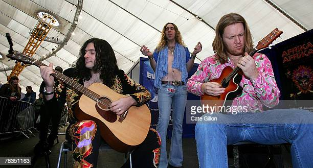 Tribute band 'Boot Led Zeppelin' entertain crowds queuing for the Led Zeppelin concert on December 10 2007 in London Led Zeppelin have not performed...