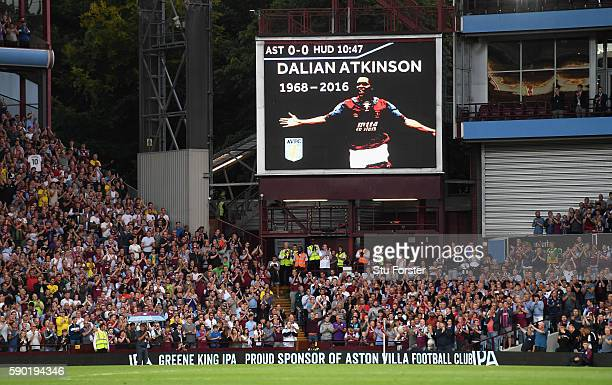 A tribute for Dalian Atkinson is seen on the screen inside the stadium during the Sky Bet Championship match between Aston Villa and Huddersfield...