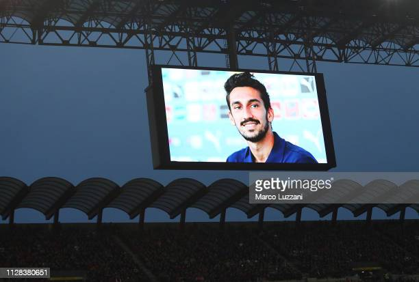 Tribute for Davide Astori during the Serie A match between AC Milan and US Sassuolo at Stadio Giuseppe Meazza on March 2 2019 in Milan Italy