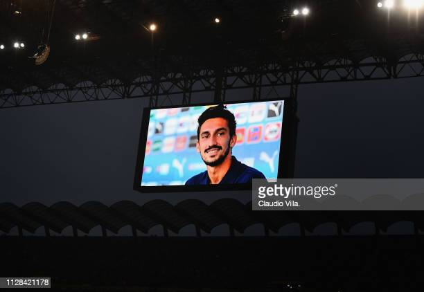 Tribute for Davide Astori during the Serie A match between AC Milan and US Sassuolo at Stadio Giuseppe Meazza on March 3 2019 in Milan Italy