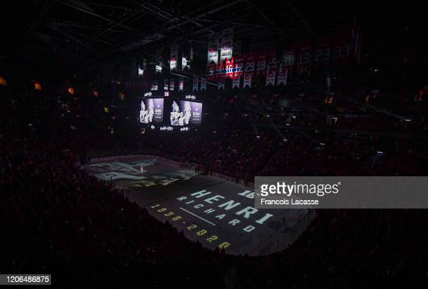 Tribute for NHL Legend the late Henri Richard of the Montreal Canadiens prior to the NHL game against the Nashville Predators in the NHL game at the...