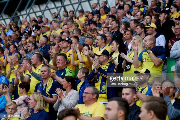 A tribute from the fans to former Brondby IF president and Brondby mayor Kjeld Rasmussen prior to the Danish Alka Superliga match between Brondby IF...