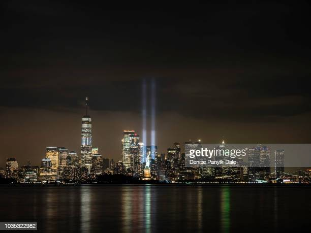 9/11 tribute in light - memorial event stock pictures, royalty-free photos & images