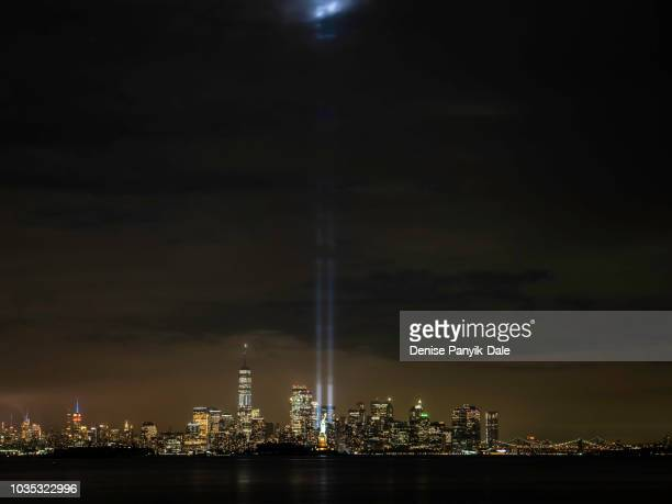 9/11 tribute in light - panyik-dale stock photos and pictures