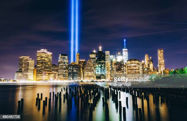 tribute in light - 911 remembrance stock pictures, royalty-free photos & images