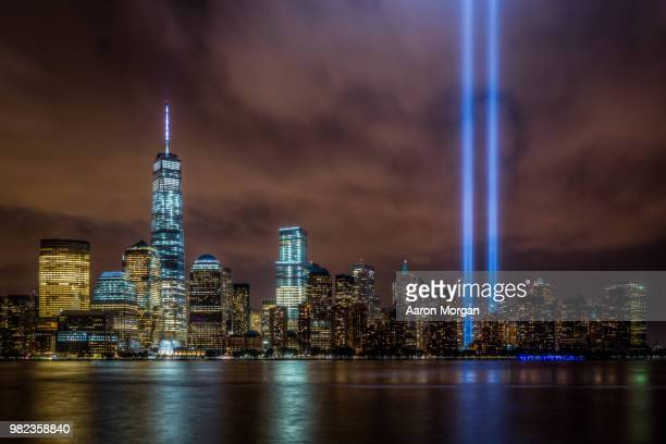 9/11 tribute in light - tribute in light stock pictures, royalty-free photos & images