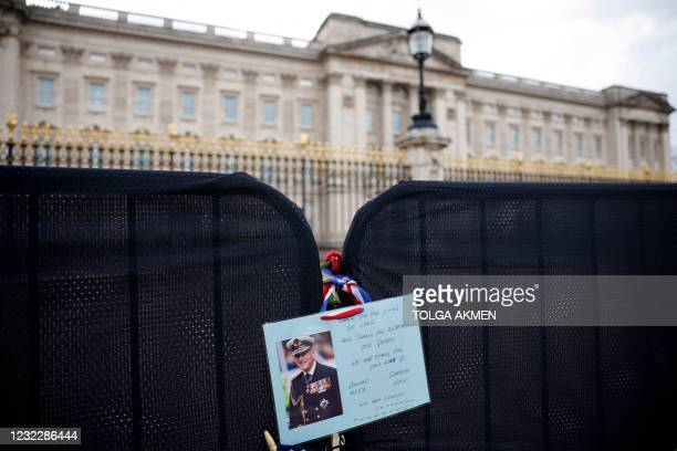 Tribute is pictured outside Buckingham Palace in central London, on April 13 following the April 9 death of Britain's Prince Philip, Duke of...