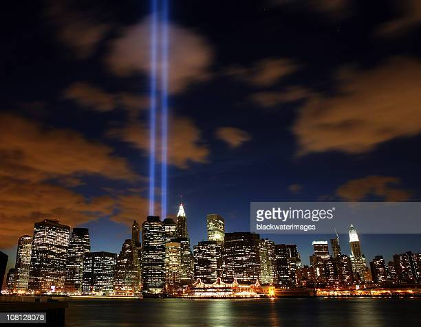 tribute lights - september_11_attacks stock pictures, royalty-free photos & images