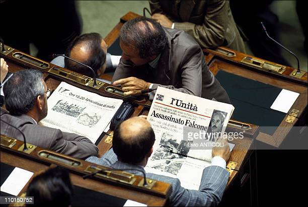Tribute of the Government with Falcone's judgment in Rome Italy in May 1992
