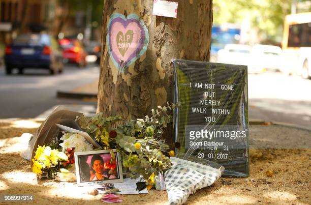 A tribute to a victim is seen on Bourke Street as a memorial is held for victims of the Bourke Street Mall Attack on January 23 2018 in Melbourne...