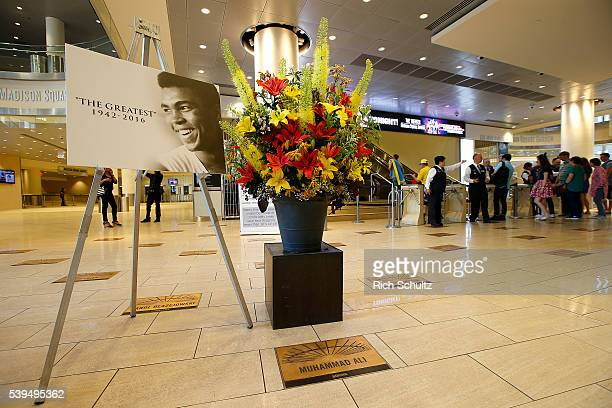 A tribute to boxing legend Muhammad Ali stands in the lobby of Madison Square Garden before the Roman Martinez vs Vasyl Lomachenko Junior Lightweight...