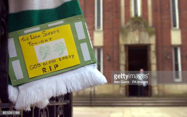 A tribute to Celtic's legend Bobby Murdoch outside St Columbkille's in Rutherglen Glasgow where Celtic stars of the past and present are due to join...