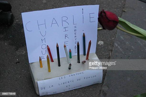 Tribute to Charlie Hebdo with pencils,Paris,France
